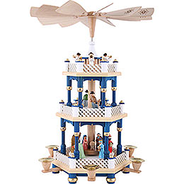 3 - stöckige Pyramide Christi Geburt blau  -  40cm