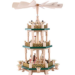 3 - stöckige Pyramide Christi Geburt  -  weihnachtsgrün/natur  -  40cm