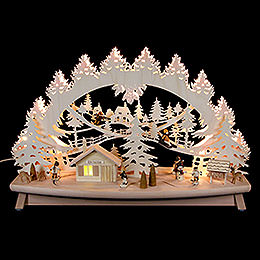 "3D Candle Arch  -  ""Children in the Snow"" with Moving Elements  -  68x43x16cm / 27x17x6 inch"