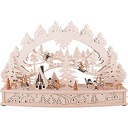 3D Candle Arch  -  Children in the Snow with Moving Figures and Smoker Hut  -  68x46x17cm / 27x18x7 inch