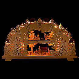 3D Candle Arch  -  Forest  -  with Deer and Forester  -  70x38cm / 27.6x15 inch