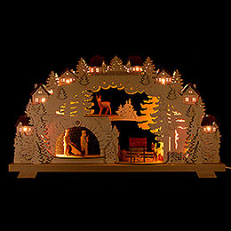 3D Candle Arch  -  Mining  -  with Deer and Miners  -  70x38cm / 27.6x15 inch