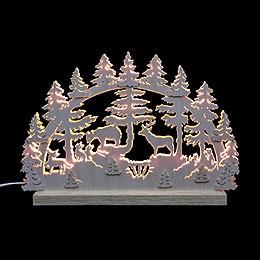 3D - Doppelschwibbogen Tiere im Wald  -  42x30x4,5cm