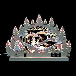 3D - Doppelschwibbogen Winterlandschaft  -  42x30x4,5cm