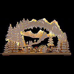 3D Double Arch  -  Wintersport with Snowmollis and White Frost  -  72x43cm / 28x17 inch