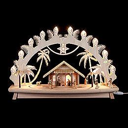 3D - Schwibbogen Christi Geburt mit beweglichen Figuren  -  68x43x16cm