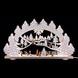 3D - Schwibbogen Kinder im Schnee  -  66x40x8,5cm
