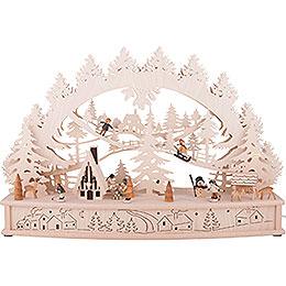 3D - Schwibbogen Kinder im Schnee mit beweglichen Figuren und Räucherhaus  -  68x46x17cm