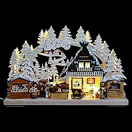 3D - Schwibbogen Nikolausmarkt mit Raureif  -  40x30x7cm