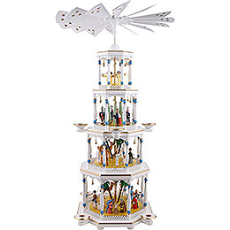 4 - Tier Pyramid  -  Nativity, White  -  94cm / 37 inch