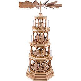 4 - stöckige Pyramide Christi Geburt mit Spielwerk, natur  -  100cm