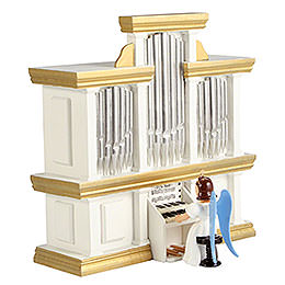 Angel Long Pleated Skirt at the Organ with Music Box, Colored  -  15,5cm / 6.1 inch