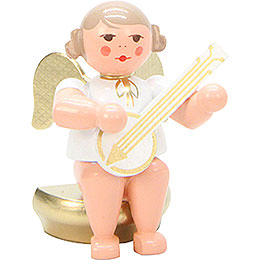 Angel Weiß/Gold Sitting with Banjo  -  5,5cm / 2 inch