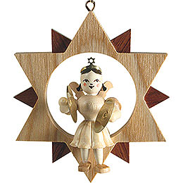 Angel in Star with Cymbals, Natural  -  9,5cm / 3.7 inch