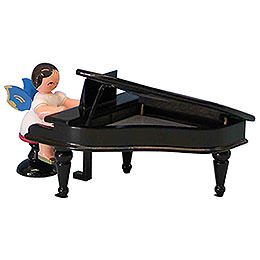 Angel with Black Piano  -  Blue Wings  -  Sitting  -  6cm / 2,3 inch