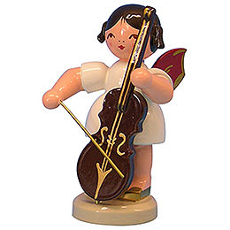 Angel with Cello  -  Red Wings  -  Standing  -  9,5cm / 3,7 inch