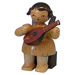 Angel with Mandolin  -  Natural Colors  -  Sitting  -  5cm / 2 inch