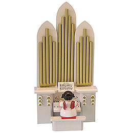 Angel with Organ  -  Red Wings  -  Standing  -  6cm / 2,3 inch