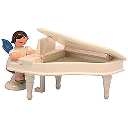Angel with White Piano  -  Blue Wings  -  Standing  -  6cm / 2,3 inch