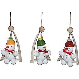Baumbehang Schneemann in der Schaukel, 3 Stück  -  8cm