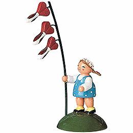 Blumenkind Mädchen mit Herzblume  -  6cm