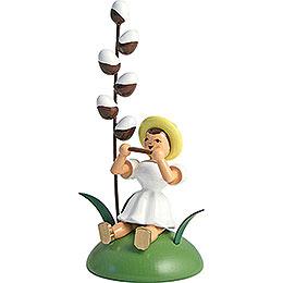 Blumenkind mit Maikätzchen und Mundharmonika sitzend  -  12cm