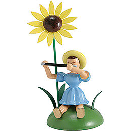 Blumenkind mit Sonnenblume und Querflöte sitzend  -  12cm