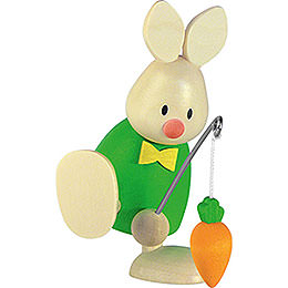 Bunny Max with Fishing Rod and Carrot  -  9cm / 3.5 inch