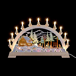 Candle Arch  -  Forester's House with Figures, Colored  -  65x40cm / 26x17.5 inch