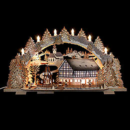 Candle Arch  -  Market Café with Turning Pyramid (variable)  -  72x43x13cm / 5.1 inch