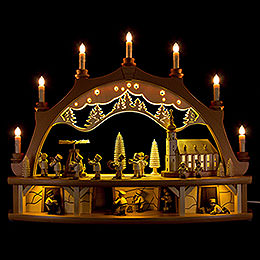 Candle Arch  -  Miners Parade with Moving Figurines  -  68x50cm / 26.8x19.7 inch