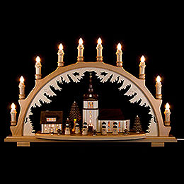 Candle Arch  -  Village Church with Carolers  -  66x43cm / 26x16.9 inch