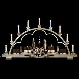 Candle Arch  -  Village Seiffen  -  102cm / 40 inch  -  120 V Electr. (US - Standard)