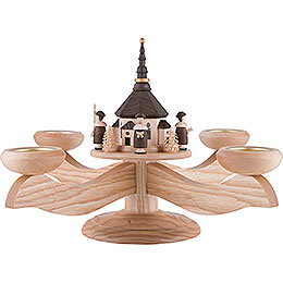 Candle Holder  -  Seiffen Church with Carolers Natural  -  26cm / 10.2 inch
