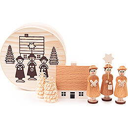 Carolers natural in Wood Chip Box  -  4cm / 1.6 inch