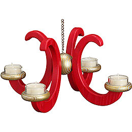 Ceiling Candle Holder  - , Ash Tree, Red Glazed  -  33x16cm / 13x6.3 inch