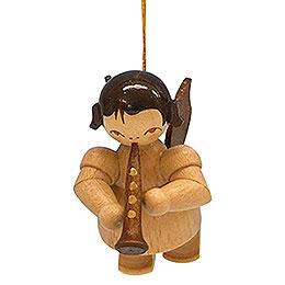 Christbaumschmuck Engel mit Klarinette  -  natur  -  schwebend  -  5,5cm