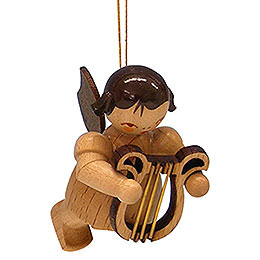 Christbaumschmuck Engel mit Leier  -  natur  -  schwebend  -  5,5cm