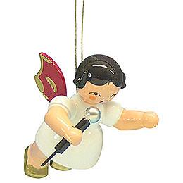 Christbaumschmuck Engel mit Mikrofon  -  Rote Flügel  -  schwebend  -  5,5cm