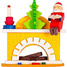 Christbaumschmuck Kleiner Kamin mit Weihnachtsmann  -  6cm