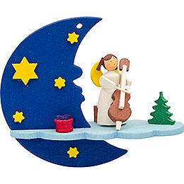 Christbaumschmuck Mond - Wolke - Engel mit Cello  -  8cm