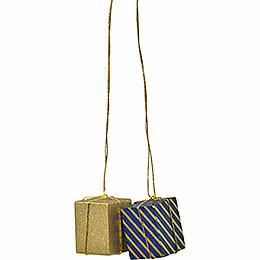 """Christbaumschmuck """"Pakete gold/blau - gold""""  -  3cm"""