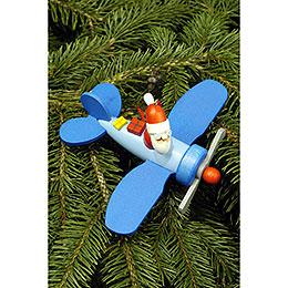 Christbaumschmuck Weihnachtsmann im Flieger  -  10,0x5,0cm