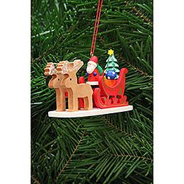 Christbaumschmuck Weihnachtsmann im Rentierschlitten  -  9,7cm