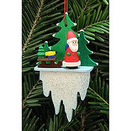 Christbaumschmuck Weihnachtsmann mit Schlitten auf Eiszapfen  -  5,5x8,8cm