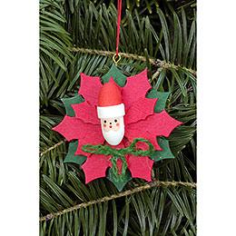 Christbaumschmuck Weihnachtsstern mit Weihnachtsmann  -  6,5x6,5cm