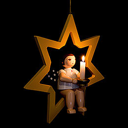 Christmas Angel in Star with Socket for Candle Or Lumix LED  -  38cm / 15 inch