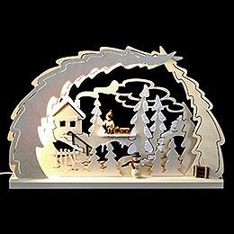 Dekoleuchter Schlittenwanderung LED  -  40x28,5x4,5cm