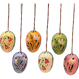 Easter Egg Set with Flowers  -  3,5cm / 1.4 inch