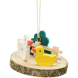 Easter Ornament  -  Duck on Tree Slice  -  4,2cm / 1.7 inch